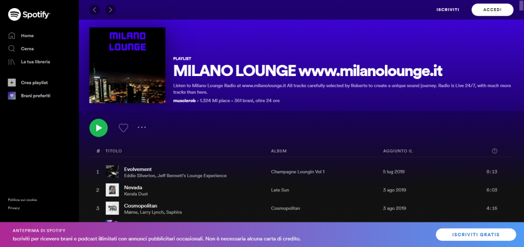 Listen to MILANO LOUNGE Spotify playlist when you are unable to listen to the LIVE radio